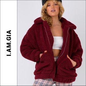 I AM GIA Burgundy Wine Red Teddy Bear Pixie Coat